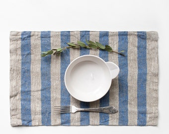 Rustic Placemat With Wide Blue Stripes