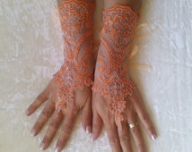 Halloween costume lace gloves orange silver frame free ship bridal cuff fingerless lace gauntlets guantes french lace orange