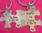 Personalized Puzzle Piece Key Chain Set His and Hers Te Amo Hasta La Luna meaning I Love You To The Moon Gift For Him or her customizeable k