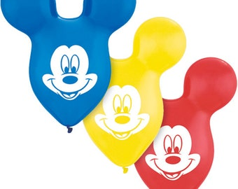 Set of 6 Mickey Mouse Ear Latex Balloons party decoration