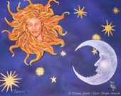 Fantasy Art Print ~ Celestial Art ~ FASCINATION ~ Sun goddess, The Fault in Our Stars,  Astronomy Wall Art  ~ Bedroom decor, Romantic Gifts