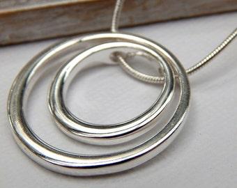 Circle necklace, Silver Karma Necklace, eternity necklace, silver necklace