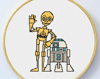 C3PO and R2D2 Cross Stitch Pattern - Instant Download
