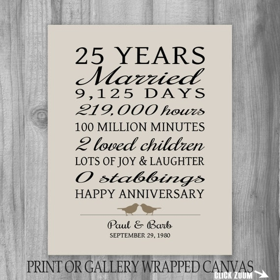 25 year anniversary gift 25th anniversary art print for 25th wedding anniversary poems