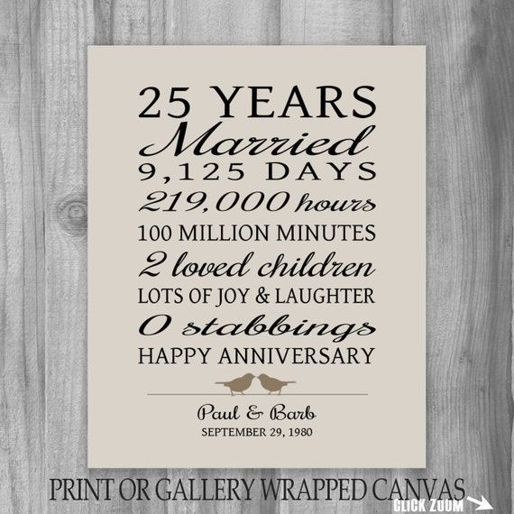 Unique 25th Wedding Anniversary Gift Ideas For Parents : 25 Year Anniversary Gift 25th Anniversary Art Print