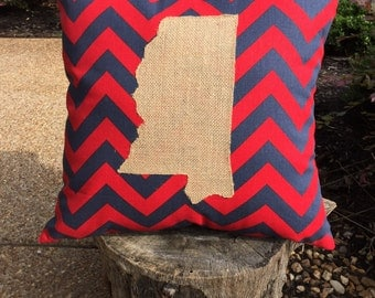 Mississippi State Pillow Cover, Chevron Burlap State Pillow, Ole Miss Pillow, Mississippi State Pillow