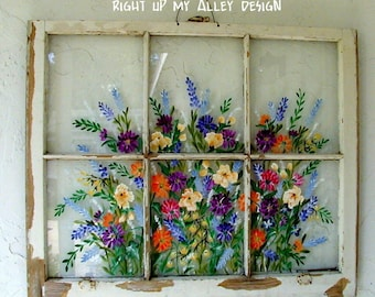 Shabby Chic Antique Vintage Windows Painted WILL CUSTOM PAINT for you