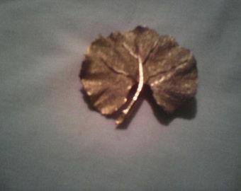 Vintage BSK Goldtone Leaf Brooch.