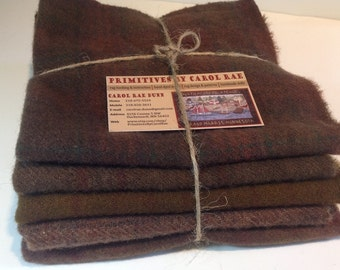 Wool Fabric for Rug Hooking and Applique - Five Fat Eighths  Warm Dark Chocolate W180