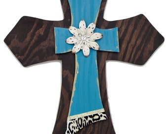 """22"""" Stacked Wall Cross (Teal w/cheetah edging)"""