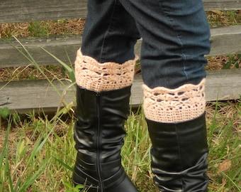 Peach Boot Cuffs  - Light Peach Women's Boot Cuffs - Bootcuffs - Women's Bootcuffs - Fashion Boot Cuffs - Leg Warmer Boot Cuffs - Peach Boot