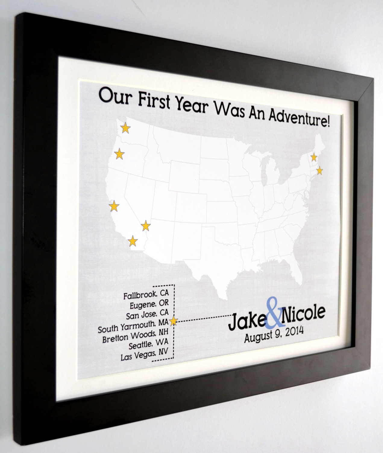 Personalized Journey Travel Map Gift For Wedding Anniversary ...