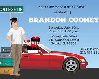Male college Trunk Party Invitations - Printable Graduation Announcement
