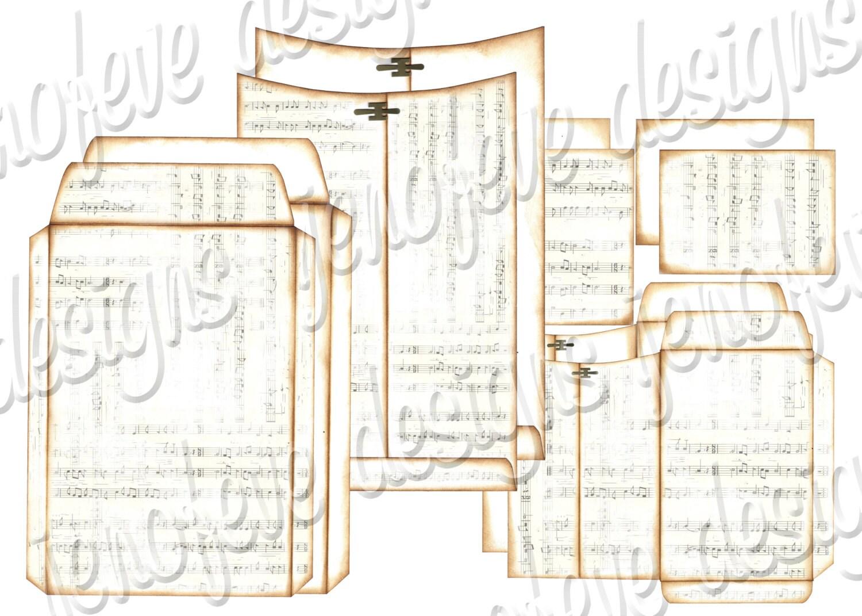6x9 printable envelope album music notes plain templates. Black Bedroom Furniture Sets. Home Design Ideas