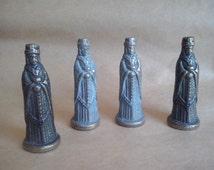 Vintage brass medieval knight, knight statue, verdigris medieval miniature statue, fairy garden decor, prop, shadow box (46/75/koyt2)