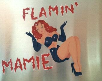 Flamin' Mamie, World War II Bomber Nose Art, WWII Pin Up Girl Bomber Art, Air Combat Art Hand Painted on an Aluminum Panel