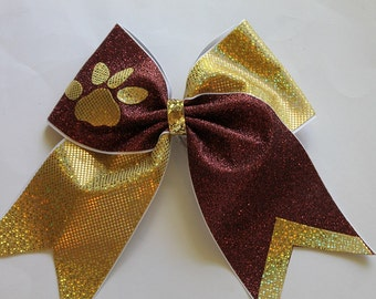 Cheer bow Gold and Burgundy