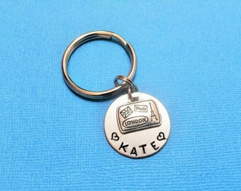 PARIS LONDON KEYCHAIN - luggage travel personalized keyring - personalized hand stamped to order - keyring, zipper pull, purse charm