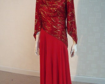 Darnell of London Couture Red and Gold Beaded Silk Evening Gown