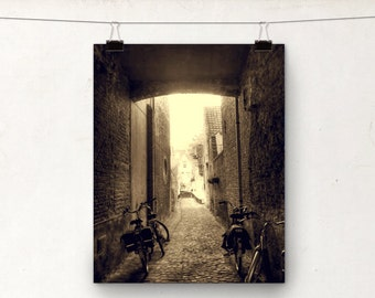 Alleyway, Sepia Photograph Print, Bicycle Hipster Art, Brugge Belgium