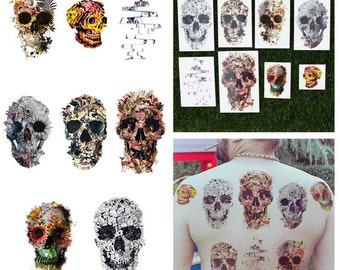 Skull and Bones Flower Nature Collage Temporary Tattoo Pack (Set of 16)