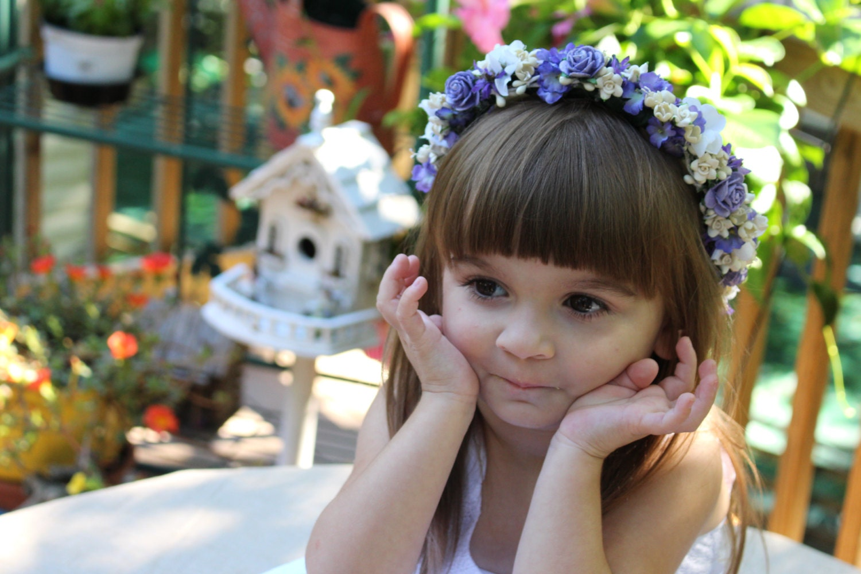 Flower Girl Hair Purple and Ivory Flower Hair Wreath