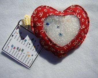 red Horseshoes Heart  I Spy bag