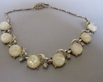 Vintage Coro Necklace - Eight Iridescent Buttons - Eight Crystals - Collectible Jewelry