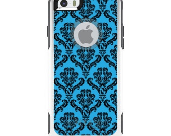 OtterBox Commuter for Apple iPhone 5S SE 5C 6 6S 7 8 PLUS X 10 - Custom Monogram - Any Colors - Blue Black Damask Pattern
