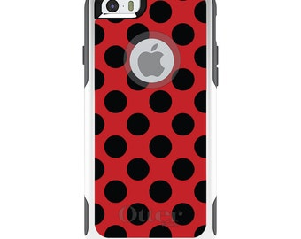 OtterBox Commuter for Apple iPhone 5S SE 5C 6 6S 7 8 PLUS X 10 - Custom Monogram - Any Colors - Black & Red Polka Dots