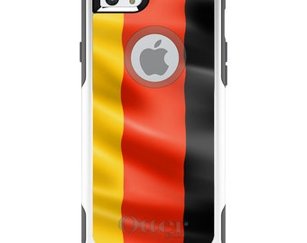 OtterBox Commuter for Apple iPhone 5S SE 5C 6 6S 7 8 PLUS X 10 - Custom Monogram - Any Colors - Germany Waving Flag