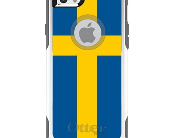 OtterBox Commuter for Apple iPhone 5S SE 5C 6 6S 7 8 PLUS X 10 - Custom Monogram - Any Colors - Sweden Flag