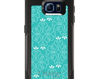OtterBox Commuter for Galaxy S4 / S5 / S6 / S7 / S8 / S8+ / Note 4 5 8 - CUSTOM Monogram - Any Colors - Teal White Floral