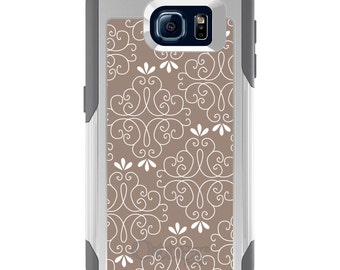 OtterBox Commuter for Galaxy S4 / S5 / S6 / S7 / S8 / S8+ / Note 4 5 8 - CUSTOM Monogram - Any Colors - Tan White Floral