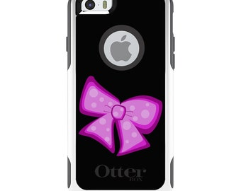 OtterBox Commuter for Apple iPhone 5S SE 5C 6 6S 7 8 PLUS X 10 - Custom Monogram - Any Colors - Pink Black Bow Ribbon