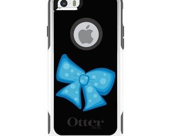 OtterBox Commuter for Apple iPhone 5S SE 5C 6 6S 7 8 PLUS X 10 - Custom Monogram - Any Colors - Light Blue Black Bow Ribbon