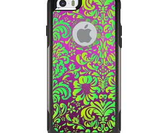 OtterBox Commuter for Apple iPhone 5S SE 5C 6 6S 7 8 PLUS X 10 - Custom Monogram - Any Colors - Purple Green Floral Pattern