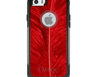 OtterBox Commuter for Apple iPhone 5S SE 5C 6 6S 7 8 PLUS X 10 - Custom Monogram - Any Colors - Red Feather Texture