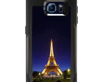 OtterBox Commuter for Galaxy S4 / S5 / S6 / S7 / S8 / S8+ / Note 4 5 8 - CUSTOM Monogram - Any Colors - Eiffel Tower Paris Night