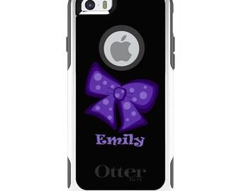 OtterBox Commuter for Apple iPhone 5S SE 5C 6 6S 7 8 PLUS X 10 - Custom Monogram or Image - Purple Black Bow Ribbon Name