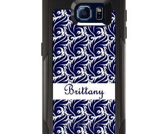 OtterBox Commuter for Galaxy S4 / S5 / S6 / S7 / S8 / S8+ / Note 4 5 8 - CUSTOM Monogram Name Initials - Purple White Floral Flower Pattern