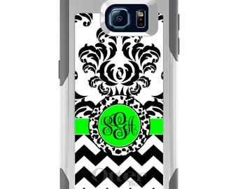 OtterBox Commuter for Galaxy S4 / S5 / S6 / S7 / S8 / S8+ / Note 4 5 8 - CUSTOM Monogram Name Initials - Black White Green Damask Chevron