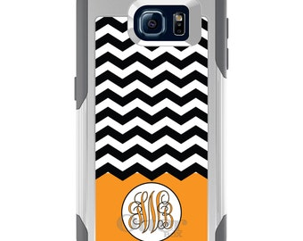 OtterBox Commuter for Galaxy S4 / S5 / S6 / S7 / S8 / S8+ / Note 4 5 8 - CUSTOM Monogram Name Initials - Black White Chevron Orange Initials