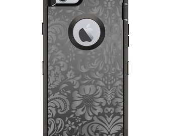CUSTOM OtterBox Defender Case for Apple iPhone 6 6S 7 8 PLUS X 10 - Personalized Monogram - Shades of Grey Floral Pattern