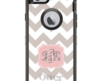 CUSTOM OtterBox Defender Case for Apple iPhone 6 6S 7 8 PLUS X 10 - Personalized Monogram - Taupe White Pink Chevron Stripes