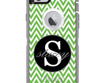 CUSTOM OtterBox Defender Case for Apple iPhone 6 6S 7 8 PLUS X 10 - Personalized Monogram - Green White Chevron Gray
