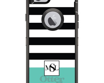 CUSTOM OtterBox Defender Case for Apple iPhone 6 6S 7 8 PLUS X 10 - Personalized Monogram - Black White Teal Stripes Initials