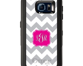 Custom OtterBox Defender for Galaxy S5 S6 S7 S8 S8+ Note 5 8 Any Color / Font - Grey White Chevron Hot Pink Frame