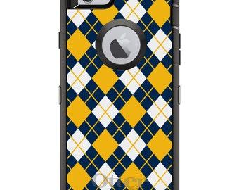 Custom OtterBox Defender Case for Apple iPhone 6 6S 7 8 PLUS X 10 - Monogram - Georgia Tech GT Yellow Jackets Colors Argyle