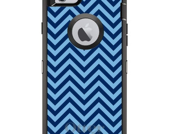 Custom OtterBox Defender Case for Apple iPhone 6 6S 7 8 PLUS X 10 - Monogram - North Carolina UNC Tar Heels Colors-Chevron Pattern
